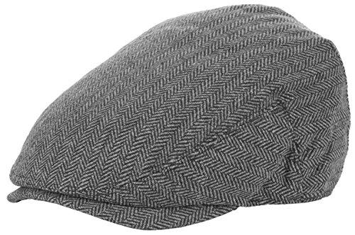 DRY77 Wool Blend Newsboy Flat Driver Ivy Hat Cap Winter Plaid Herringbone Tweed, White, S/M