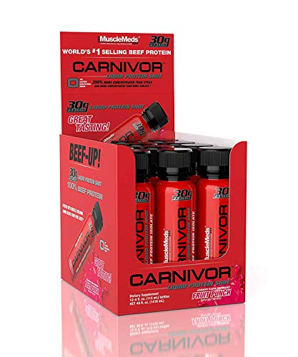 MuscleMeds Carnivor Liquid Protein Shot, Fruit Punch, 12 Count