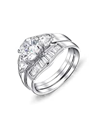 Bling Jewelry 925 Silver Round CZ Baguette Engagement Wedding Ring Set