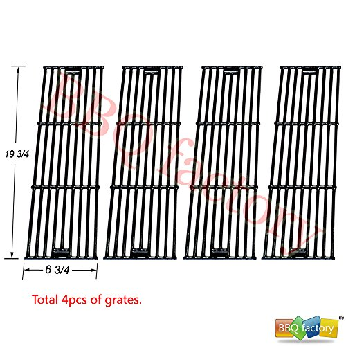 bbq factory® Replacement Porcelain coated Cast Iron Cooking Grid Set (4-pack) Select Gas Grill Models By Chargriller,King Griller and Others by bbq factory