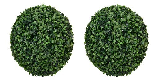 TWO 13.5'' ARTIFICIAL BOXWOOD BALL INDOOR OUTDOOR TOPIARY PLANT by Arcadia Silk Plantation