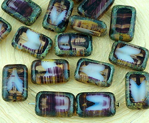 8pcs Picasso Brown Crystal Agate Striped Sea Moonstone Moonlight Opal Table Cut Flat Rectangle Czech Glass Beads 8mm x 12mm ()