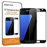 Boosted Samsung Galaxy S7 Full Screen Tempered Glass Screen Protector, Now with IMPROVED Screen Hardness, Adhesive, Touch Sensitivity and Anti Fingerprint Oleophobic Coating - Black