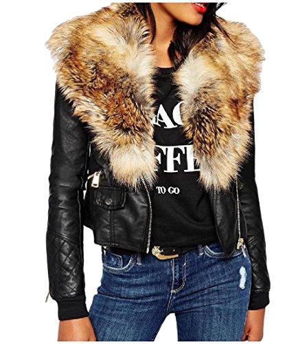 Abetteric Women Vintage Fur Collar Zip-Up Pockets Faux Leather Jackets, Khaki, US L=China XL