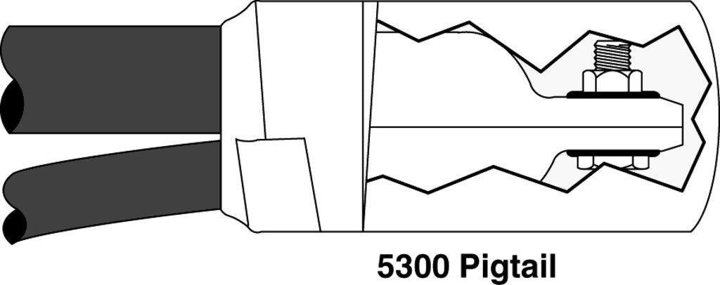 3M(TM) Motor Lead Pigtail Splice 5300, 1 kV, 1-Hole Lug Connection, 14-10 AWG (feeder), 16-12 AWG (motor lead), 1 per case