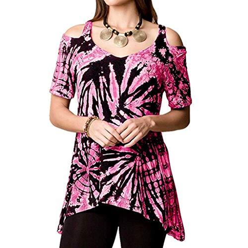 (Tie-dye Off-The-Shoulder T-Shirt Ladies Short-Sleeved Irregular Hem Tops Summer Casual Versatile Printed Shirt top MEEYA Pink)