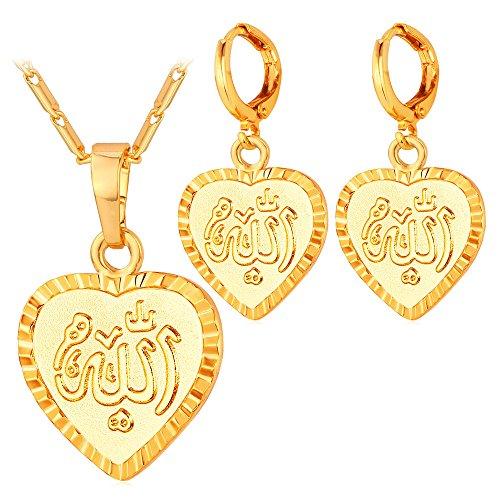 - U7 18K Gold Plated Muslim Jewelry Set Allah Heart Pendant Necklace Earrings