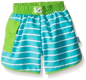 i play. Baby Boys' Striped Pocket Pocket Board Shorts with Built-In Swim Diaper, Aqua Stripe, 6 Months