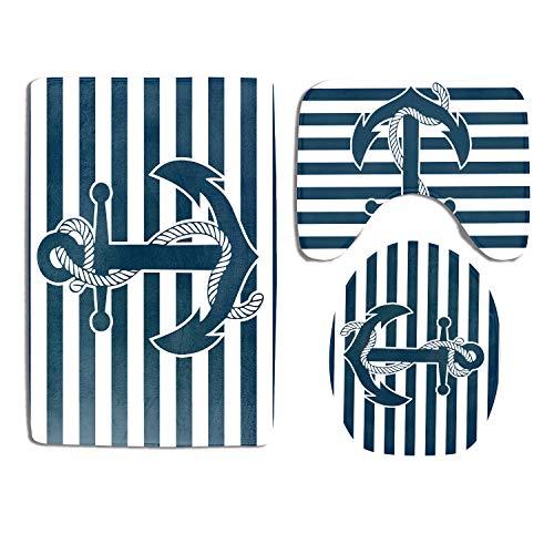 Nautical Bathroom Rug Set 3 Piece Navy Anchor Blue Stripe Background Non Slip Bath Carpet Mat U-Shaped Contour Mat Toilet Lid Cover Sets Durable Flannel Home Washroom Decor Shower Accessories (Nautical Rugs Decor)