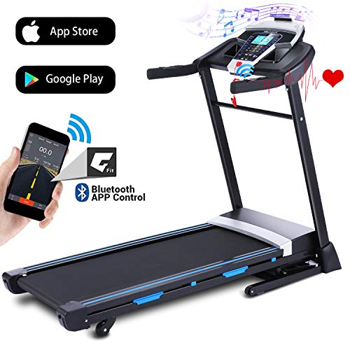ANCHEER Folding Treadmill, 3.25HP Automatic Incline Treadmill with Bluetooth Speaker, Walking Jogging Running Machine with APP Control for Home Gym