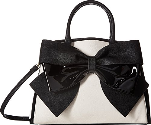 Betsey Johnson Womens Big Bow Satchel Bone/Black One (Bow Toggle)