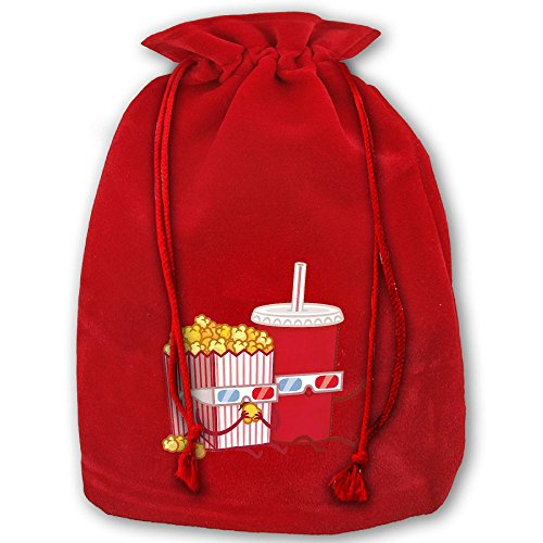 Drink And Popcorn Red Christmas Drawstring Bags / Santa's Trouser Bag/ Christmas Gift