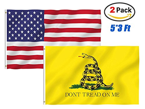 TOWEE US Flag Dont Trend On Me Flag, 2 Pack 3x5 Ft 100% Polyester USA America Flag Stars and Stripes Flags + Gadsden Dont Tread On Me Flag Halloween Christmas Flags Bright Colors with Metal Grommets ()