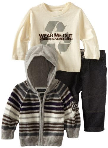 Kenneth Cole Baby Boys' Hooded Sweater Tee and Jean Set