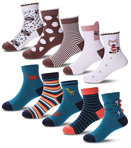 10 Pack Baby Toddler Crew Novelty Cute Animal Cotton Crew Seamless Socks For Kid Girls Boys 1-12 Year Old (6-8 Year Old, Civet cat & Dinosaur) ()