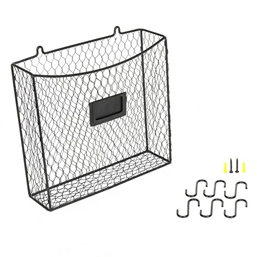Wall Mounted Multipurpose Mail Organizer Chicken Wire Basket with S Hooks Magazine Holder Coat Rack Foyer Storage with Key Hooks for Kitchen Entryway and Garage Black