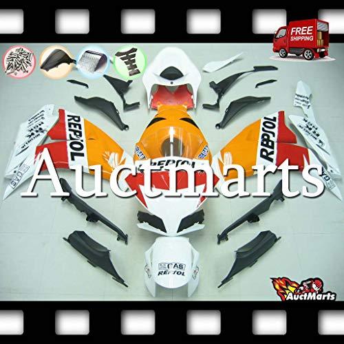 Auctmarts Injection Fairing Kit ABS Plastics Bodywork with FREE Bolt Kit for Honda CBR1000RR CBR 1000 RR 2012 2013 2014 2015 2016 Orange Red White Repsol (P/N:1v30) ()
