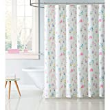 Soft and Sophisticated Laura Hart Kids Garden Fairies 72'' x 72'' Shower Curtain,Features Charming Fairies Dancing With Flowers,Off-White, Pink,Purple,Perfect For Your Kids Room