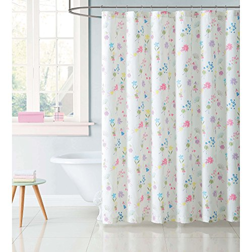 Soft and Sophisticated Laura Hart Kids Garden Fairies 72'' x 72'' Shower Curtain,Features Charming Fairies Dancing With Flowers,Off-White, Pink,Purple,Perfect For Your Kids Room by Generic