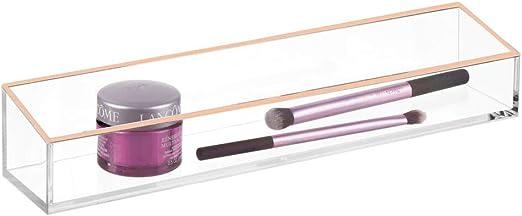 mDesign Organizador de Maquillaje – Práctica Caja organizadora para pintalabios, Sombras de Ojos, brochas y demás – Caja de plástico para cajones y tocador – Transparente/Dorado Rosado: Amazon.es: Hogar