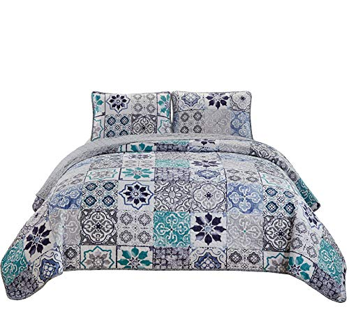 Fancy Linen 3pc King/California King Bedspread Quilt Set Over Size Bed Cover with Flowers Squares Grey Blue Teal White Navy Blue New