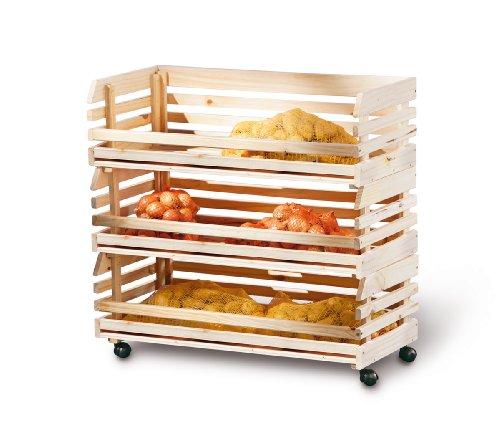 Links 60100450 Küchenwagen Stapelkiste Aufbewahrungsbox Küche Keller Vorratsraum Rollen groß