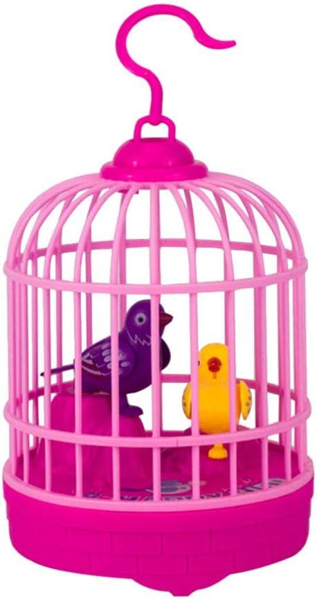 TOYANDONA Canto de La Jaula de Pájaros Control de Voz Juguete de Pájaro Eléctrico Juguete Interactivo para Niños para Cumpleaños Regalo de Fiesta Escolar sin Batería (Rojo)