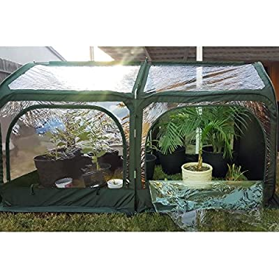 """Quictent Pop up Greenhouse Passed SGS Test Eco-Friendly Fiberglass Poles Overlong Cover Six Stakes 98""""x49""""x53"""" Mini Portable Green House by Quictent"""