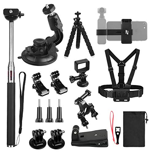 KUUQA Expansion Accessories Kit for Osmo Pocket, Handheld Phone Holder Chest Strap Backpack Clip Tripod Bracket Bike Mount Suction Cup Mount Compatible with OSMO Pocket Handheld Gimbal ()