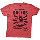 Ripple Junction Doctor Who Vote No on Daleks Adult T-Shirt Small Heather Red