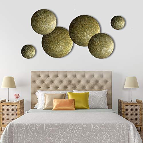 Decorlives Set of 6 Textured Gold Finish Half Bowls Large Metal Wall Art Decorative Sculpture Hanging Wall Décor ()