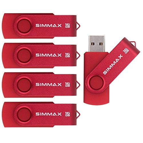 SIMMAX 5pcs 16GB USB Flash Drive U-Disk 16GB USB 2.0 Flash Memory Stick swivel design (Red)