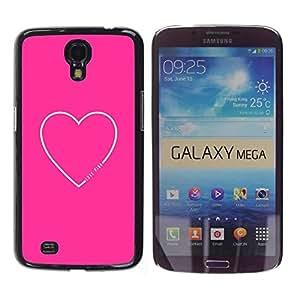 FECELL CITY // Duro Aluminio Pegatina PC Caso decorativo Funda Carcasa de Protección para Samsung Galaxy Mega 6.3 I9200 SGH-i527 // Heart Quote Love Text Minimalist
