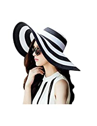 1PCS Women Lady Girl Black White Striped Beachwear Sun Hat Straw Hat Folding Wide Brim Floppy Beach Hat Summer UV Protector for Holiday Traveling