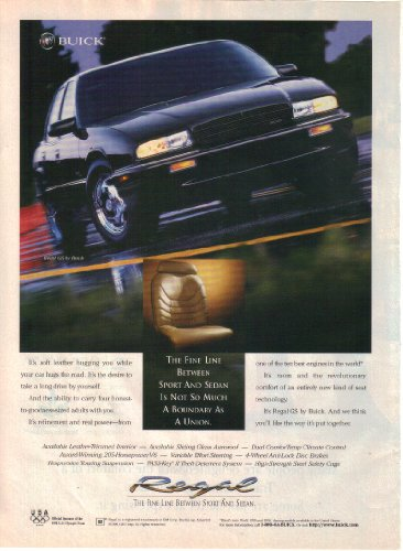 Print Ad: 1996 Buick Regal GS 'The Fine Line Between Sport and Sedan'