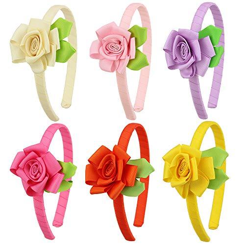 - 7Rainbows Grosgrain Ribbon Floral Rose Headbands for Girls Toddlers Teens.