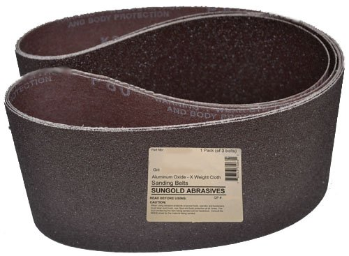 Sungold Abrasives 35171 6-Inch by 48-Inch 220 Grit Sanding Belts Premium Industrial X-Weight Silicon Carbide, 3-Pack