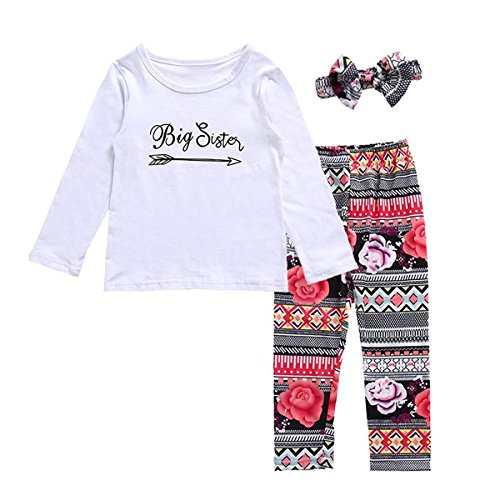 Arleysh Baby Girls Clothes Little Big Sister T-Shirt Romper+Floral Print Pants+Headband 3pcs Outfit (5-6 Years, Big Sister) by Arleysh