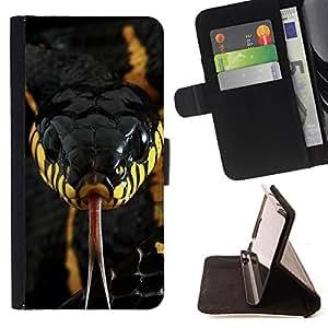- snake venom poisonous black yellow - - Prima caja de la PU billetera de cuero con ranuras para tarjetas, efectivo desmontable correa para l Funny HouseFOR HTC One M7