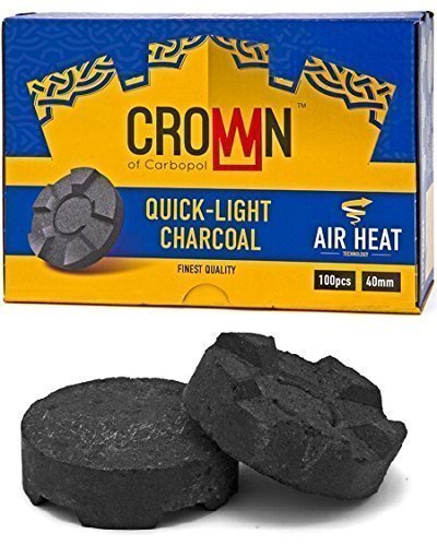CROWN 40MM CHARCOAL BOX: SUPPLIES FOR HOOKAHS – 100pc Box of Quick light shisha coals for hookah pipes. These Easy Lite coal accessories & parts are instant lighting when using a torch lighter. by Crown