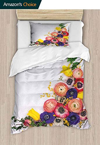 - Anemone Flower Home 2 Piece Print Quilt Set, Festive Floral Composition with English Roses Fresh Buttercups and Herbs, with 1 Pillowcase for Kids Bedding,59 W x 78 L Inches, Multicolor