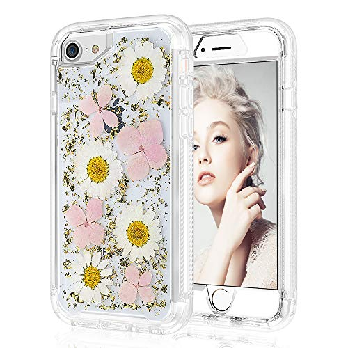 Real Flower Case for iPhone 7 8 6 6s 4.7, 2 in 1 Handmade Bling Slim Dry Floral Design Full Body Drop Protection Shockproof Rugged Bumper Non-Slip Protective Clear Girls Women Cover (Pink Sunflower)