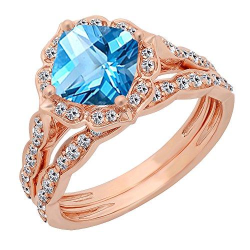Dazzlingrock Collection 14K 7.5 MM Cushion Blue Topaz & Round Diamond Ladies Bridal Engagement Ring Set, Rose Gold, Size 6