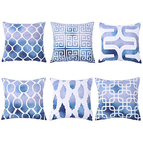 Munzong 18 X 18 Inch Luxury Velvet Cushion Cover, Set of 6 New Living Printed Decorative Square Pillowcase White and Navy Blue Outdoor Throw Pillow Sham for Sofa Tent Birthday Party Home Decor