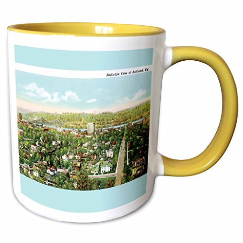 Postcard View Birdseye (3dRose BLN Vintage US Cities and States Postcard Designs - Birds Eye view of Ashland Kentucky Vintage Postcard - 15oz Two-Tone Yellow Mug (mug_170064_13))