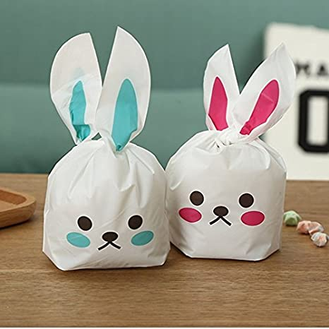 Amazon 50pcs bunny shape goodie treat party gift bags for 50pcs bunny shape goodie treat party gift bags for birthday party supplies negle Image collections