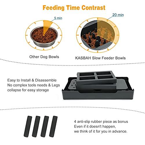 KASBAH Adjustable Elevated Dog Bowls, Raised Dog Bowl with Slow Feeder Bowl Dog Food Bowl Stand Adjust to 3 Heights, 2.75\