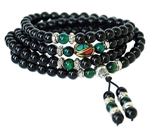 - Mala Beads Stretch Bracelet by Om Shanti Crafts | Black Obsidian & Green Tiger Stone, Buddhist Prayer Beads, Yoga Bracelets, Wear For Daily Meditation & Spiritual Growth, 6mm Meditation Beads, Unisex