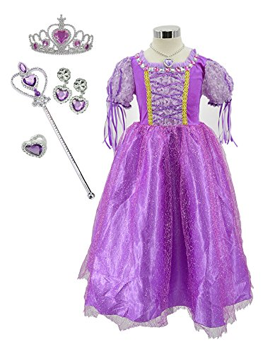 TOKYO-T Rapunzel Dress For Girls Party Princess Costume Full accessories Tiara Necklace Halloween Size - Birthday Tokyo