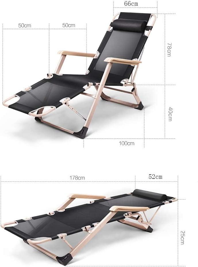 SHU-SHI Lunch folding lounge chair, lunch break office multi-function bed, backrest lazy portable home easy chair, siesta chair, beach chair C